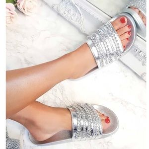 Shoes - Sliver chain embellished sliders